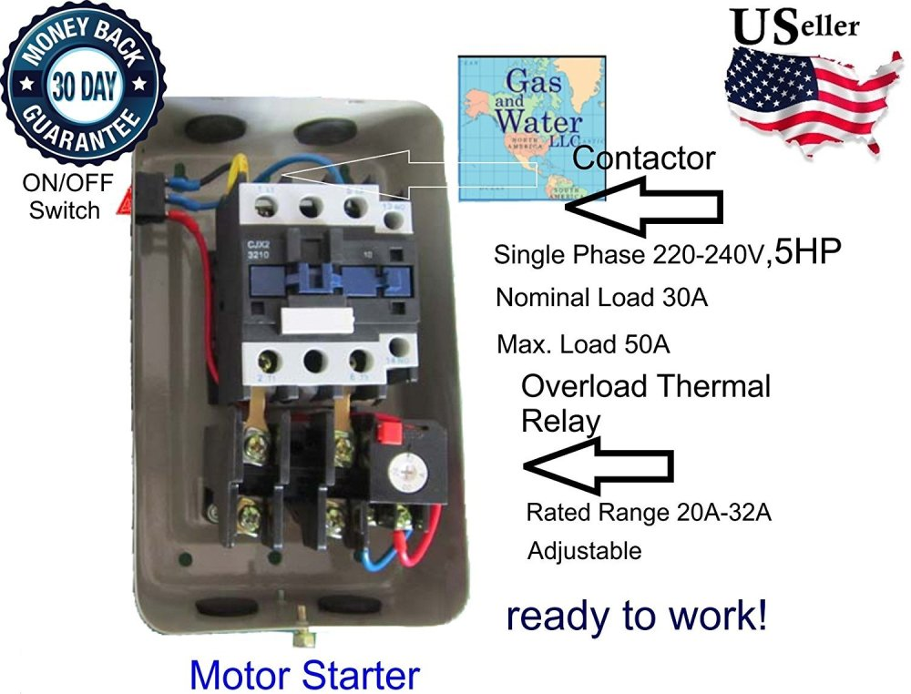 medium resolution of magnetic electric motor starter control 5 hp single phase 220 240v 22 34a with