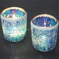 Glass Giftware Blue Clinder Mosaic Candle Holder