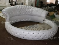 Bedroom Furniture Modern Design White Leather Round Bed ...