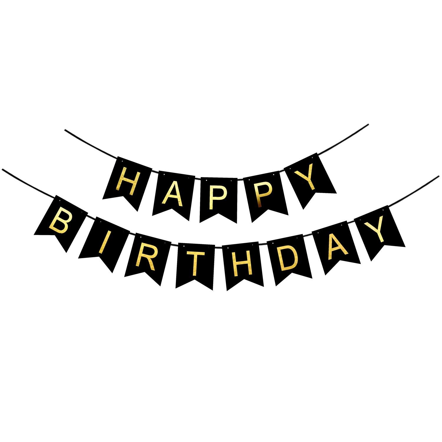 Buy Black And Gold Happy Birthday Bunting Banner With Gold