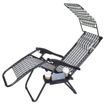 outdoor folding lounge chairs big joe bean bag chair pink zero gravity w sunshade canopy snack tray adjustable patio reclining