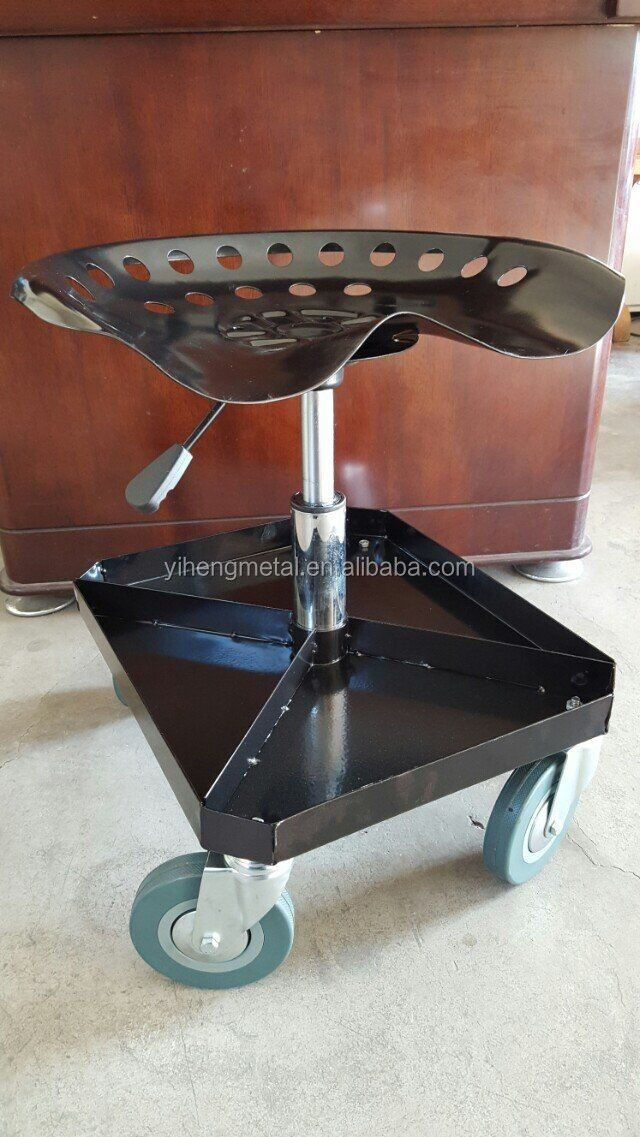 Adjustable Rolling Garage And Shop Seat Mechanic Stool
