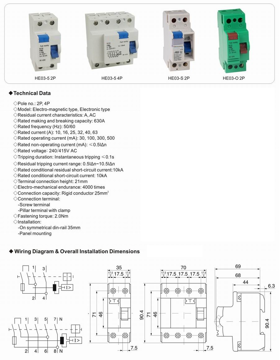 hight resolution of 2pole 40a 30ma rccb f360 ac type elcb earth leakage circuit breakers