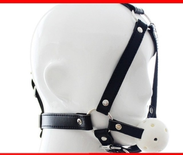 Sexy Ball Gag Leather Head Harness Open Mouth Drool Slave Ball Gag For Sex Games