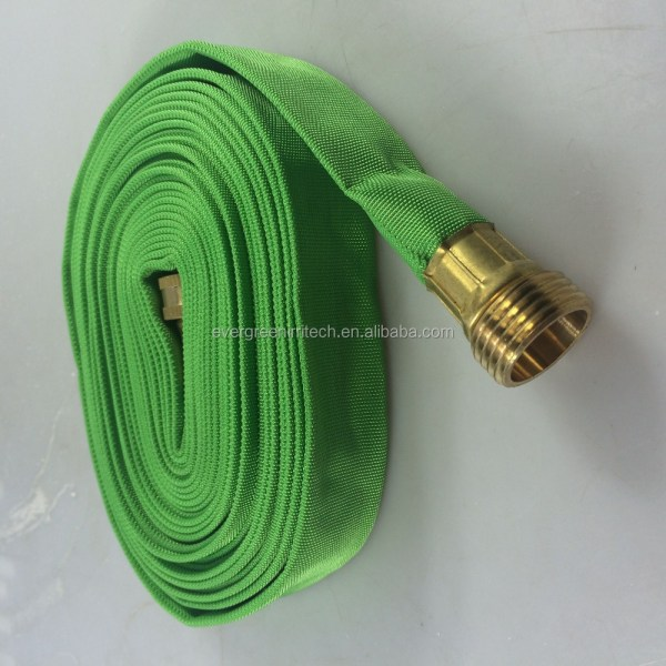 Fabric Flat Garden Hose Roll Lay Irrigation View Evergreen