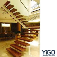 Popular Villa Wrought Iron Stair / Steel Wood Stairs ...