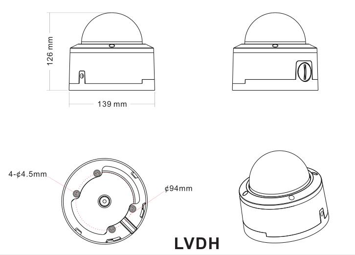 2mp 4mp Manual Lens Security Camera Dome With Transparent