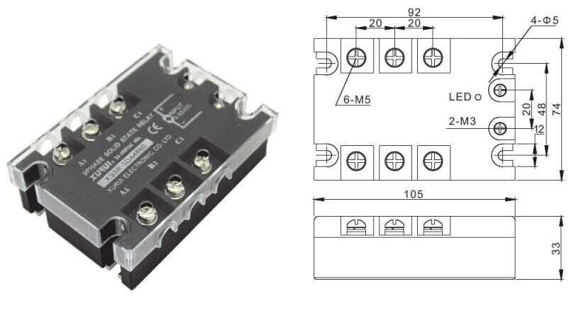 Solid State Relay Ssr 3-phase / 40a Input Solid State