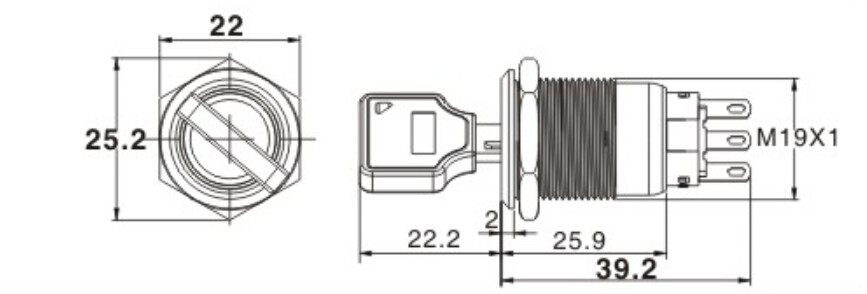 Dia.19mm 2position Key Switch On-off 3pins Rotary Switch