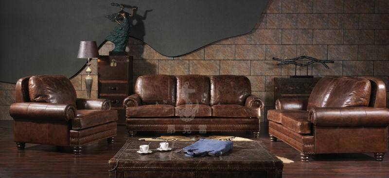 Amerikanischen Antiken Vintagestil Zwei Sitze Braun Farbe Ledersofa Wohnzimmermbel Ledersofa