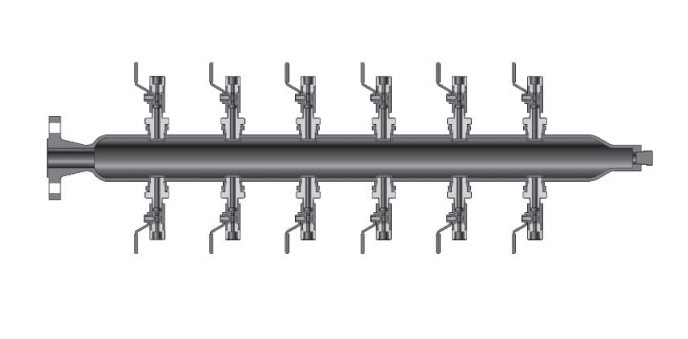 Sch 40 Pipe Air Header With 12 Distribution Ball Valves
