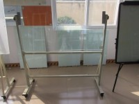 Reversible Magnetic Dry Erase Glass Whiteboard Standing On