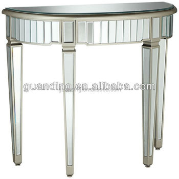 living room console tables mirrored ideas with blue and brown modern half round wooden glass table
