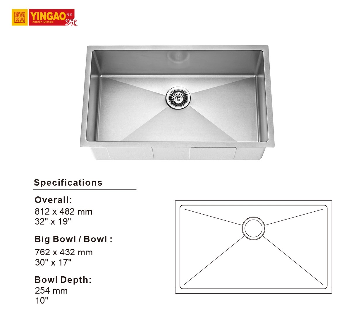 standard size flexible stainless steel sus 304 single bowl kitchen sink view rv sinks oem product details from guangdong yingao kitchen utensils
