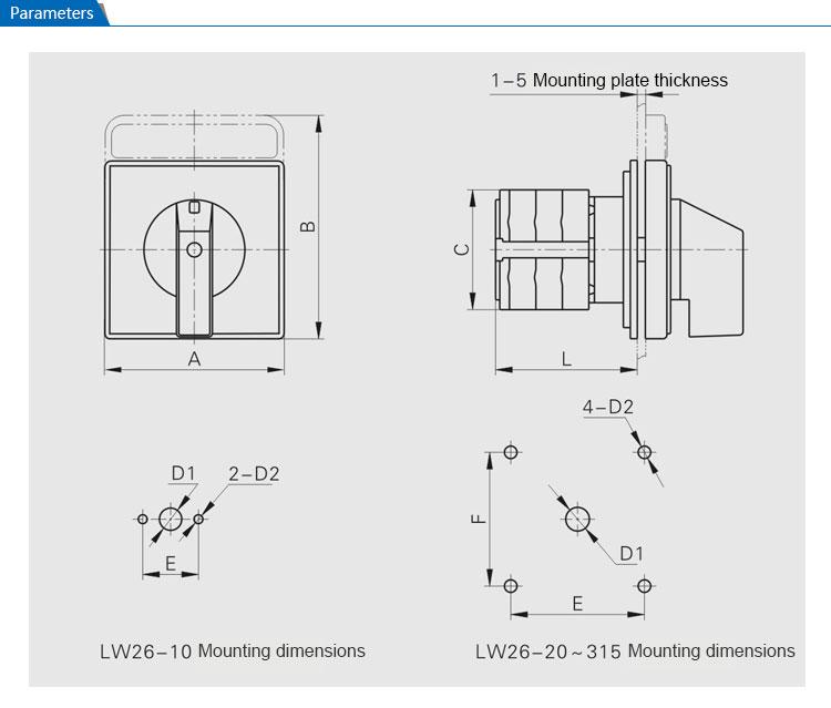 Saip/saipwell Manual Lw26 Series 1-0-2 3p 63a Socomec