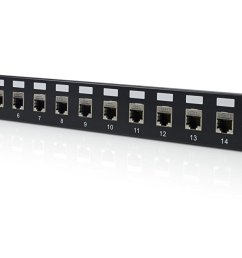 16port cat6a patch panel shielded rackmount loaded 568a 568b [ 1500 x 667 Pixel ]