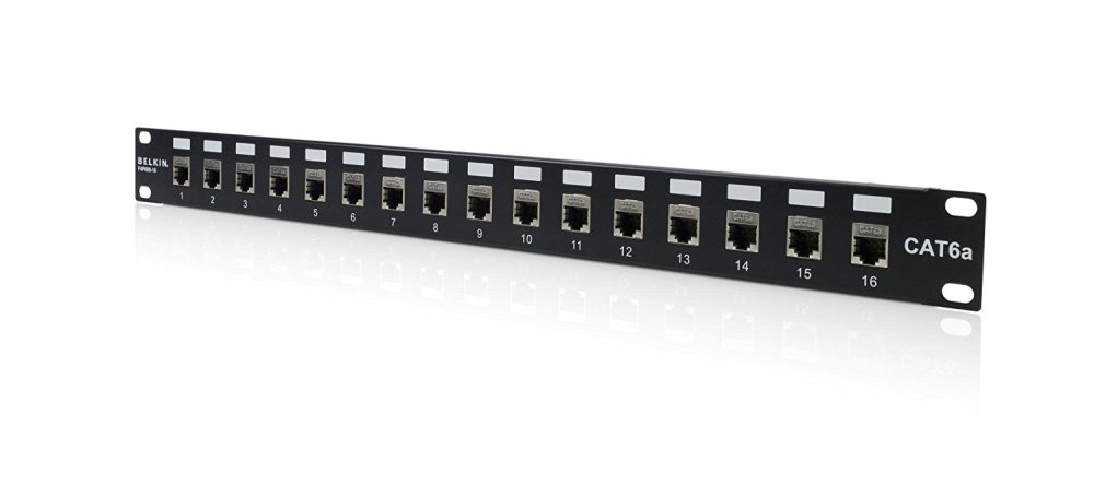 medium resolution of 16port cat6a patch panel shielded rackmount loaded 568a 568b