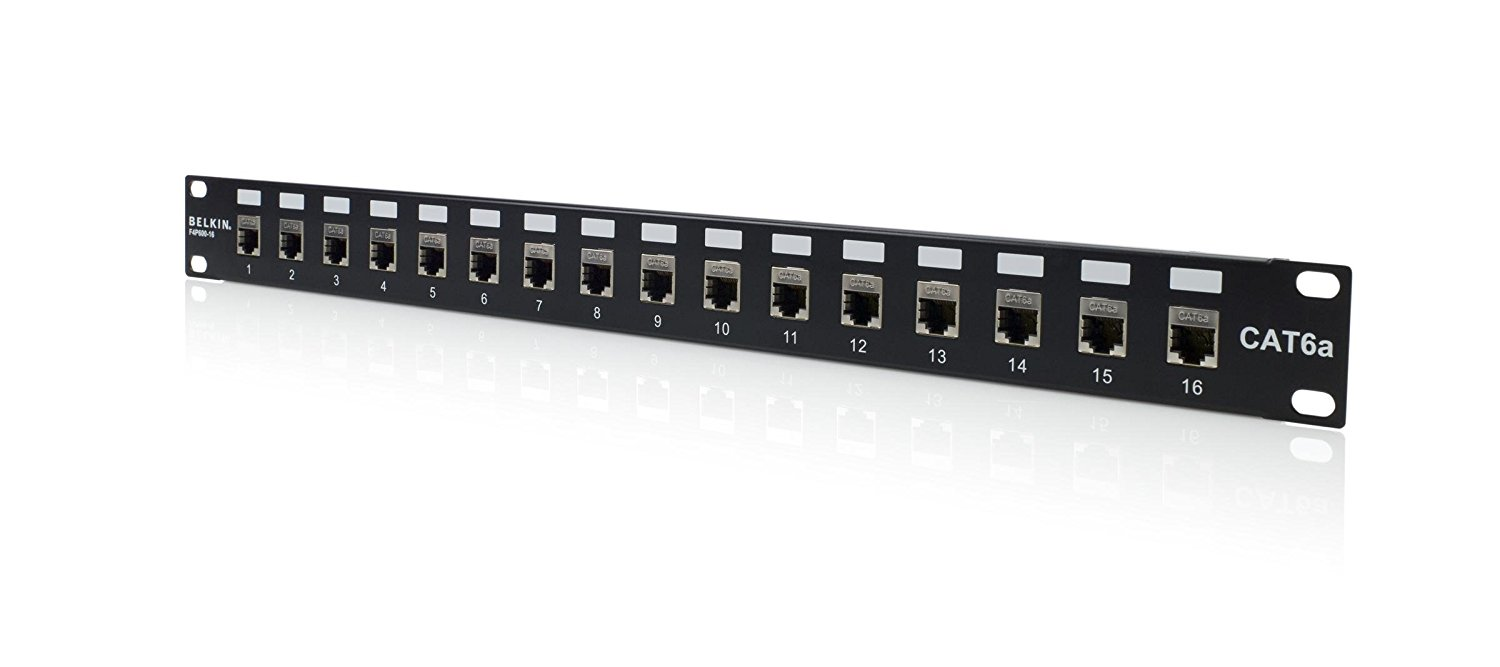 hight resolution of 16port cat6a patch panel shielded rackmount loaded 568a 568b