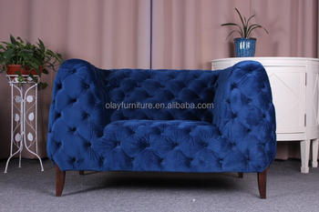 blue velvet chesterfield sofa dimensions standard dubai furniture living room modern