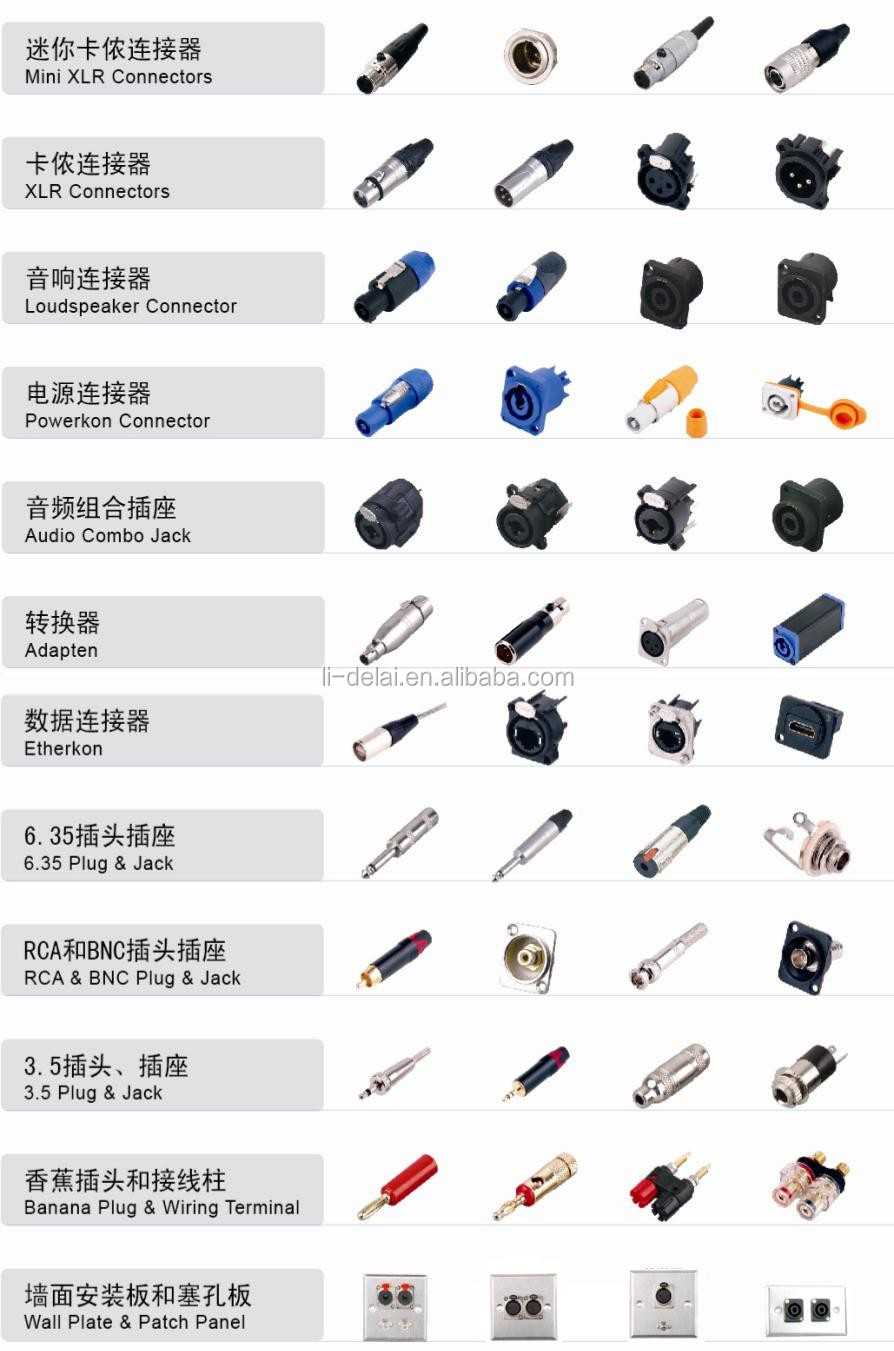 Mini Xlr Connector /male 4 Pole Cable Connector For