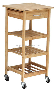 kitchen serving cart how to renovate a natural bamboo trolley wine rack with drawer
