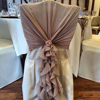 ruffle chair sashes inflatable manufacturer cheap wedding decoration pure white chiffon chaivari curly willow sash