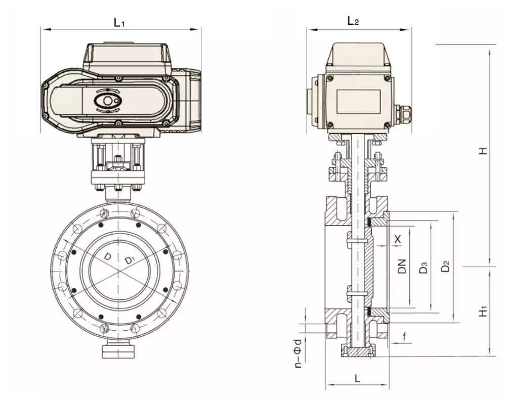 hight resolution of motorized anti corrosize flange butterfly valve with reguating 4 20ma actuator