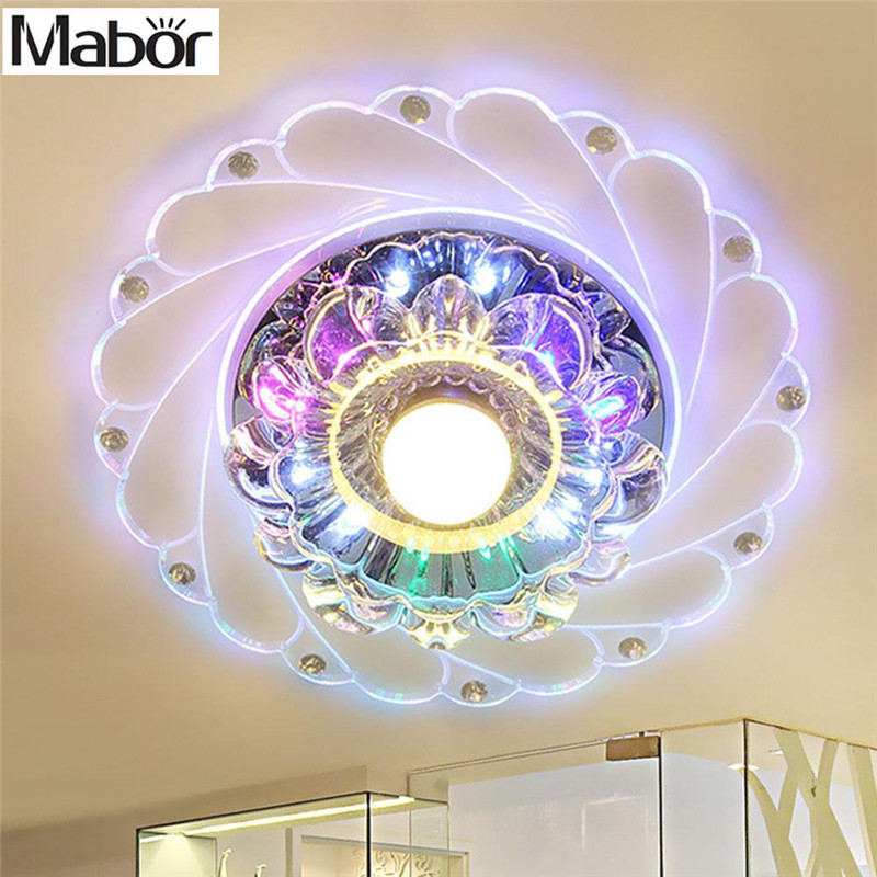 Mabor New Modern Crystal LED Saving Efficient Ceiling Blue flower