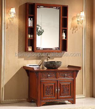 Luxury Chinese Style Antique Wooden Bathroom Vanity Traditional Bathroom Furniture With Mirror Bf08 4443 View Custom Bathroom Vanity Bisini Product Details From Zhaoqing Bisini Furniture And Decoration Co Ltd On Alibaba Com