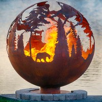 Metal Sphere Fire Pit Ball Iron Cast Outdoor Fire Pit ...