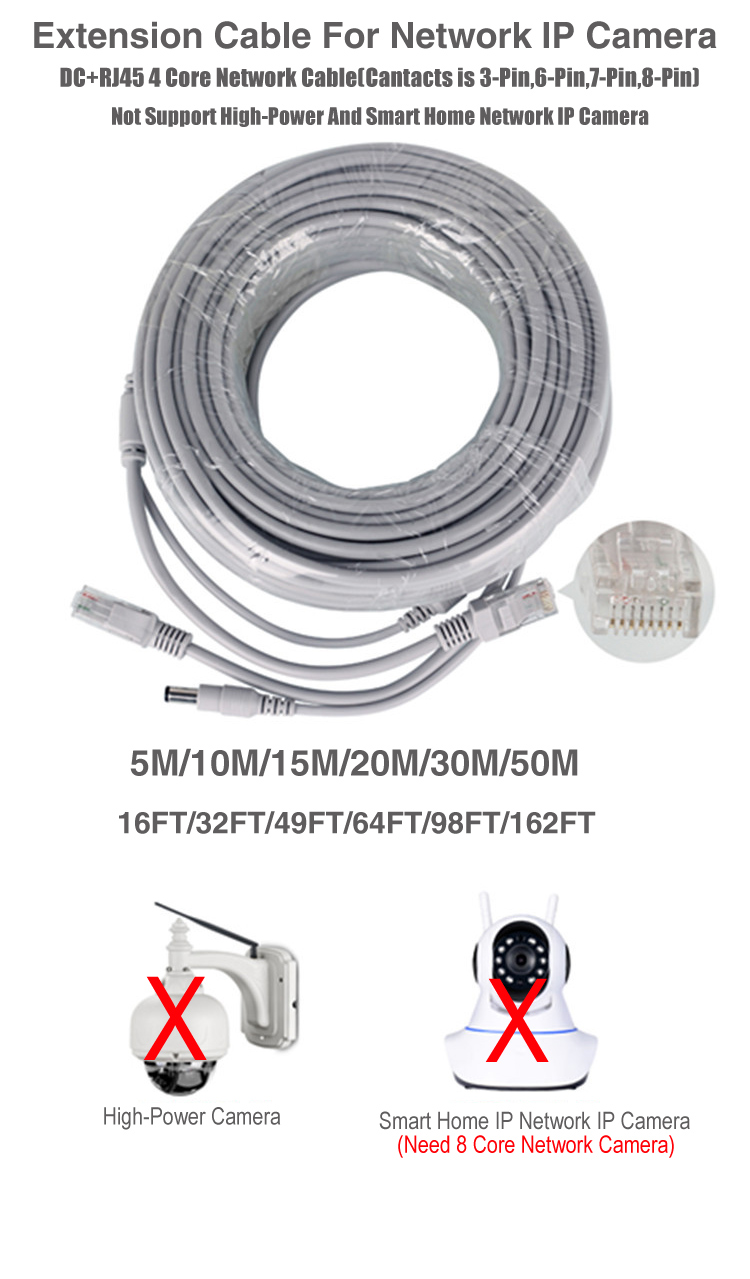 Ethernet Cable Dc+ Rj45 Power Cctv Network Lan Cable For
