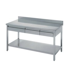Stainless Steel Kitchen Table Corner Shelving Unit Industry Work Drawers Bench Buy With Drawer Product On