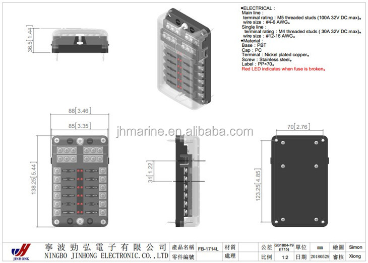 Car Marine Boat Truck 6 Way 12v Led Fuse Box Fuse Block