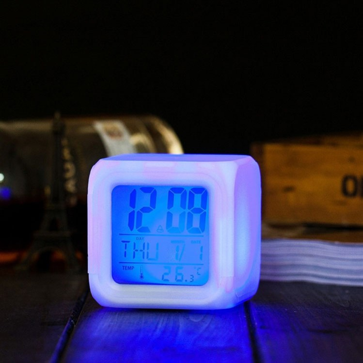 Goldmore New 7 LED Color Changing Digital Alarm Clock with Thermometer