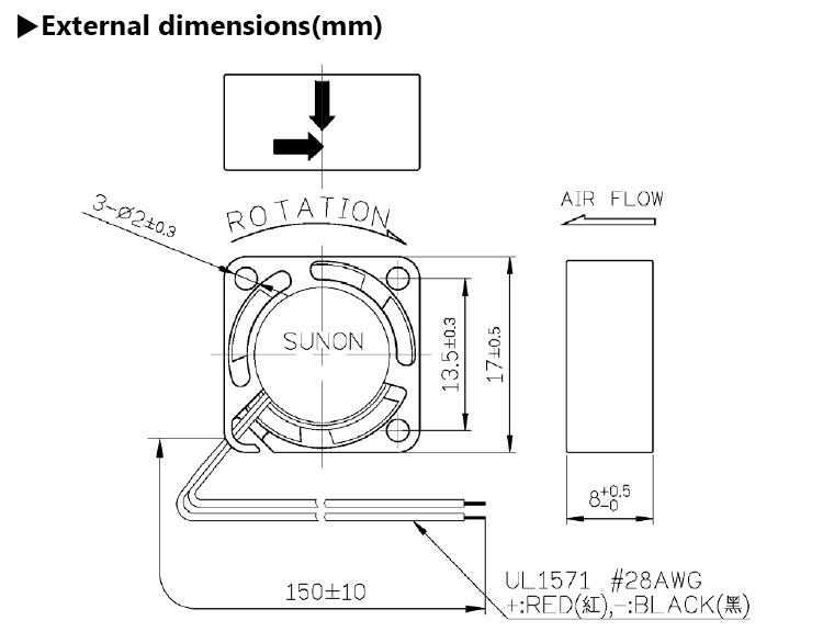 Standard SUNON Maglev 1708 17x8 17mm 17x17 Mini Brushless