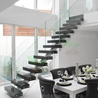 Centre Spine Type Stair With Walnut Treads And Glass ...