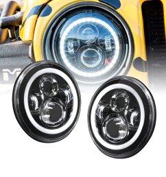 ols universal 7 round h4 45w led headlight sealed beam 2 pc set plug [ 2000 x 2000 Pixel ]