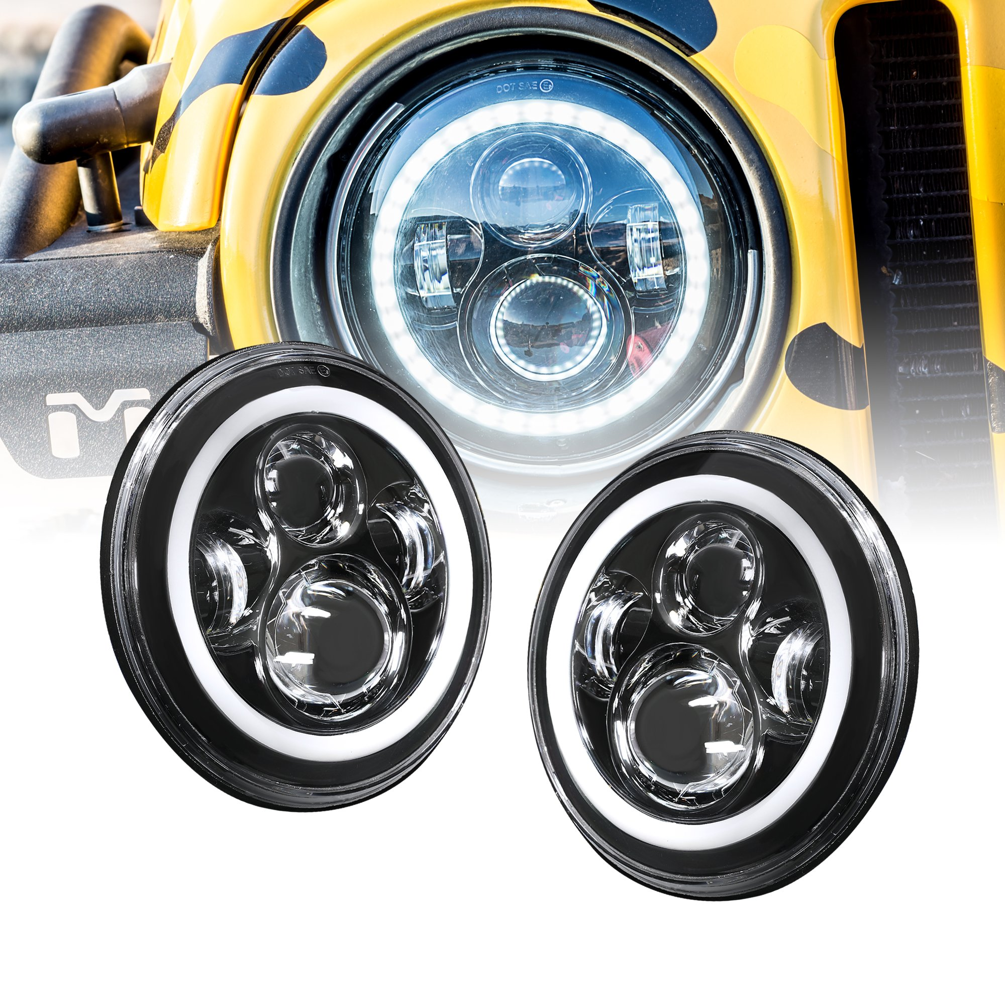 hight resolution of ols universal 7 round h4 45w led headlight sealed beam 2 pc set plug