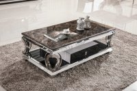 Made In French Stainless Steel Frame Marble Top Coffee ...