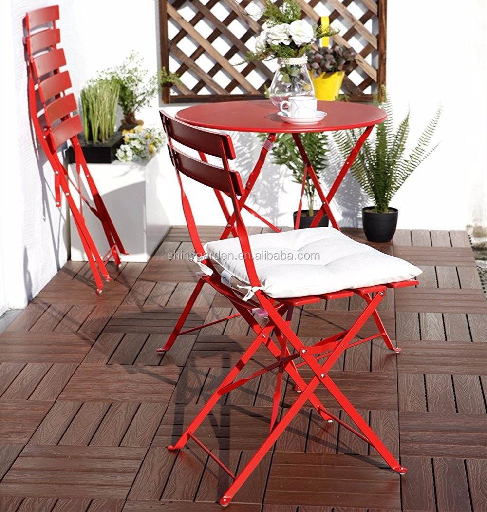 outdoor bistro chairs chair lift for stairs canada shinygarden varanda ao ar livre cadeira dobrável de aço mobiliário sets, mesa e ...