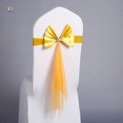 Yellow Chair Covers Folding Rental Jacksonville Fl Nice Design Bands Elastic Sashes With Organza Decoration