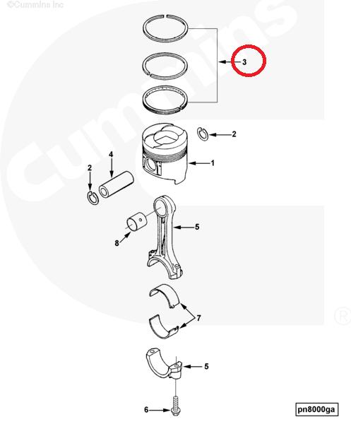Cummins B3.3 Qsb3.3 Engine Parts Piston Ring Set