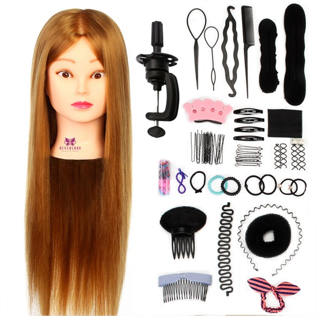 us $29.99 30% off|26'' hairdressing training head hair braiding dummy of hairstyles doll wig head hair tool set mannequin head + clamp dummy doll on