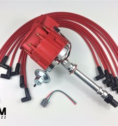 get quotations a team performance sbc chevy 350 super hei distributor red 8mm spark plug wires [ 1500 x 962 Pixel ]