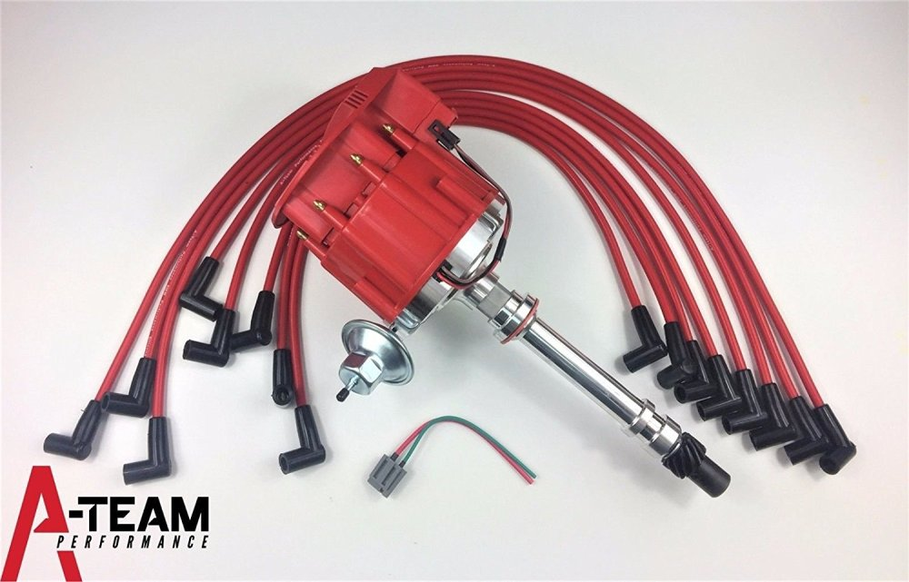 medium resolution of get quotations a team performance sbc chevy 350 super hei distributor red 8mm spark plug wires