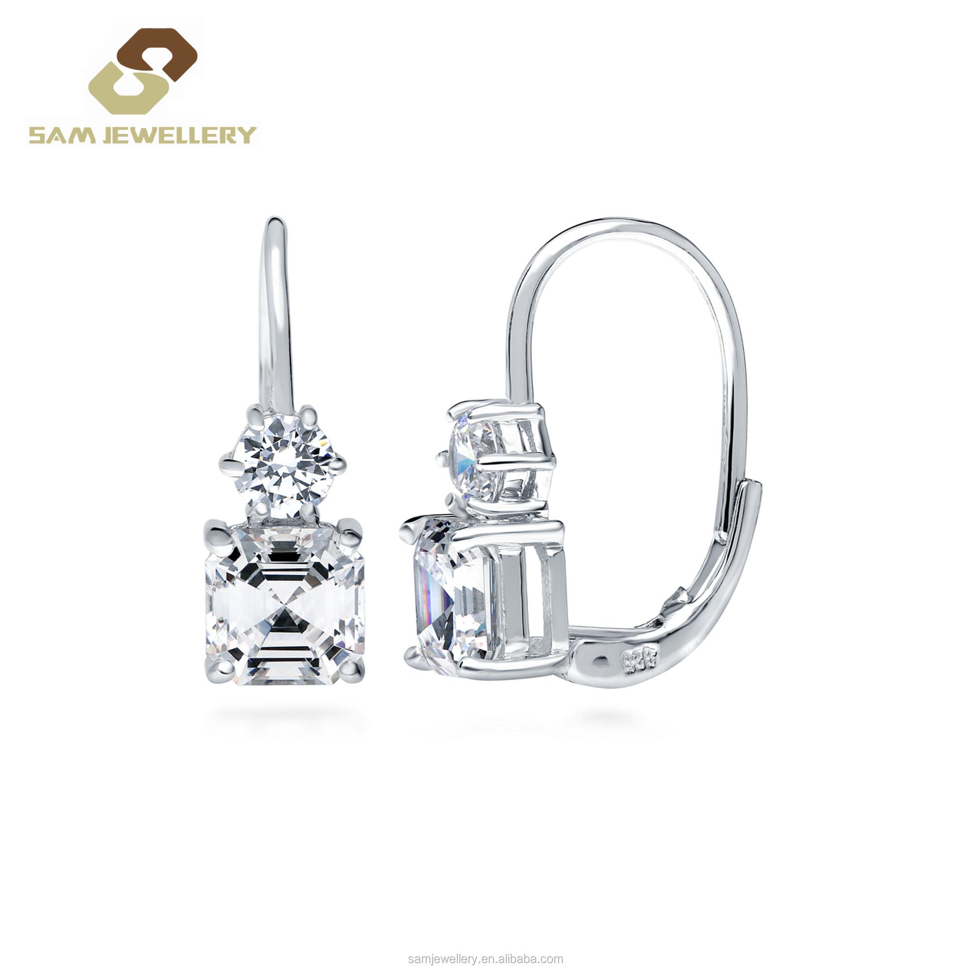 Swiss Blue Topaz 925 Silver Lever Back Earrings Jewelry