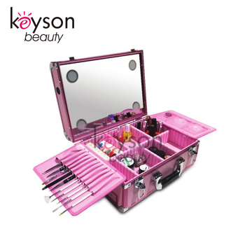 Keyson Pink Professional Makeup Case With Lights Train