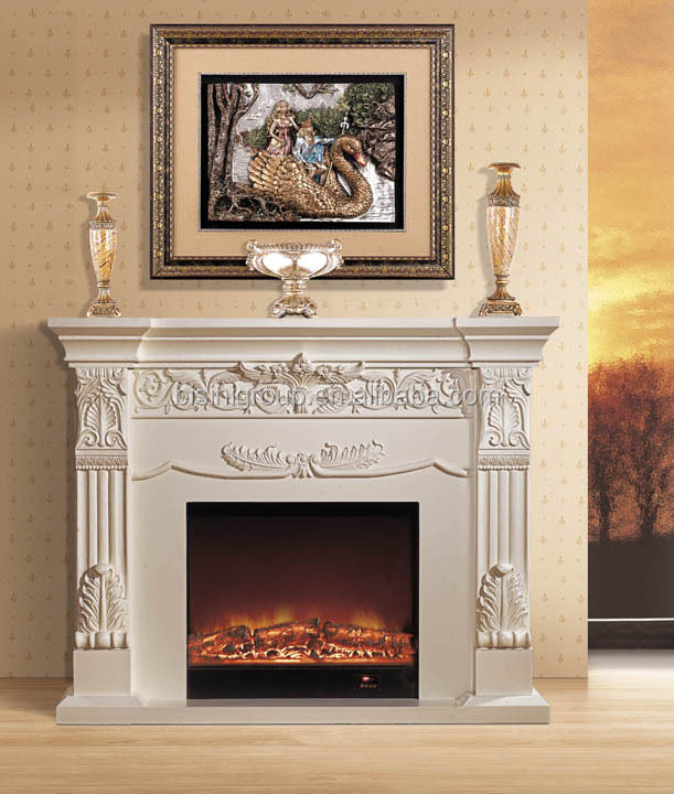Home Antique Style Brown Electric Fireplace For Wholesale