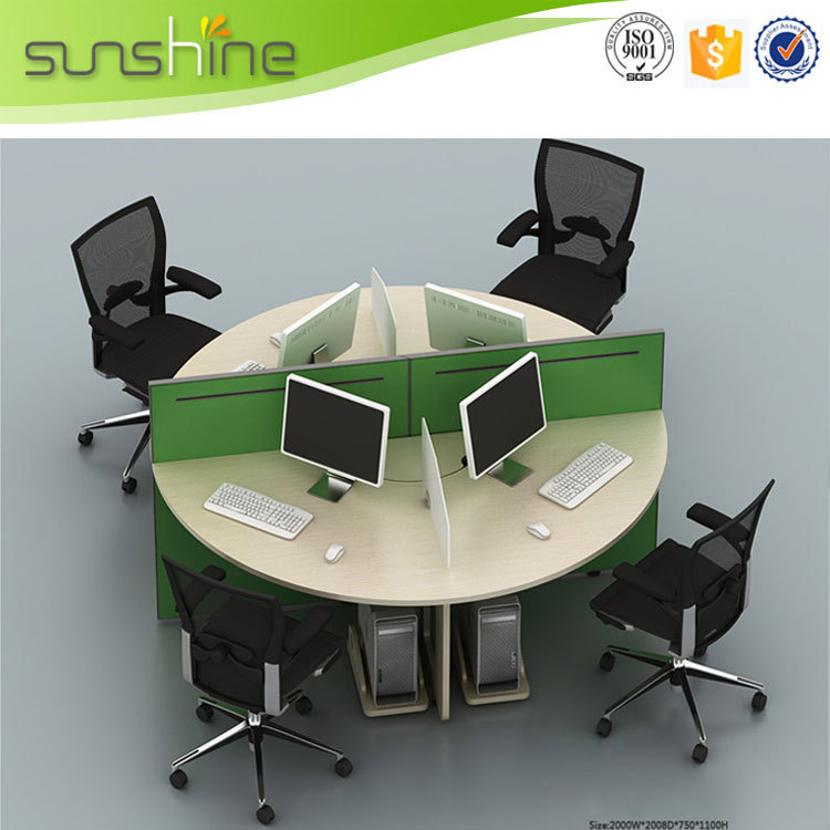 Round Workstation Office Desk Green Partition For 4