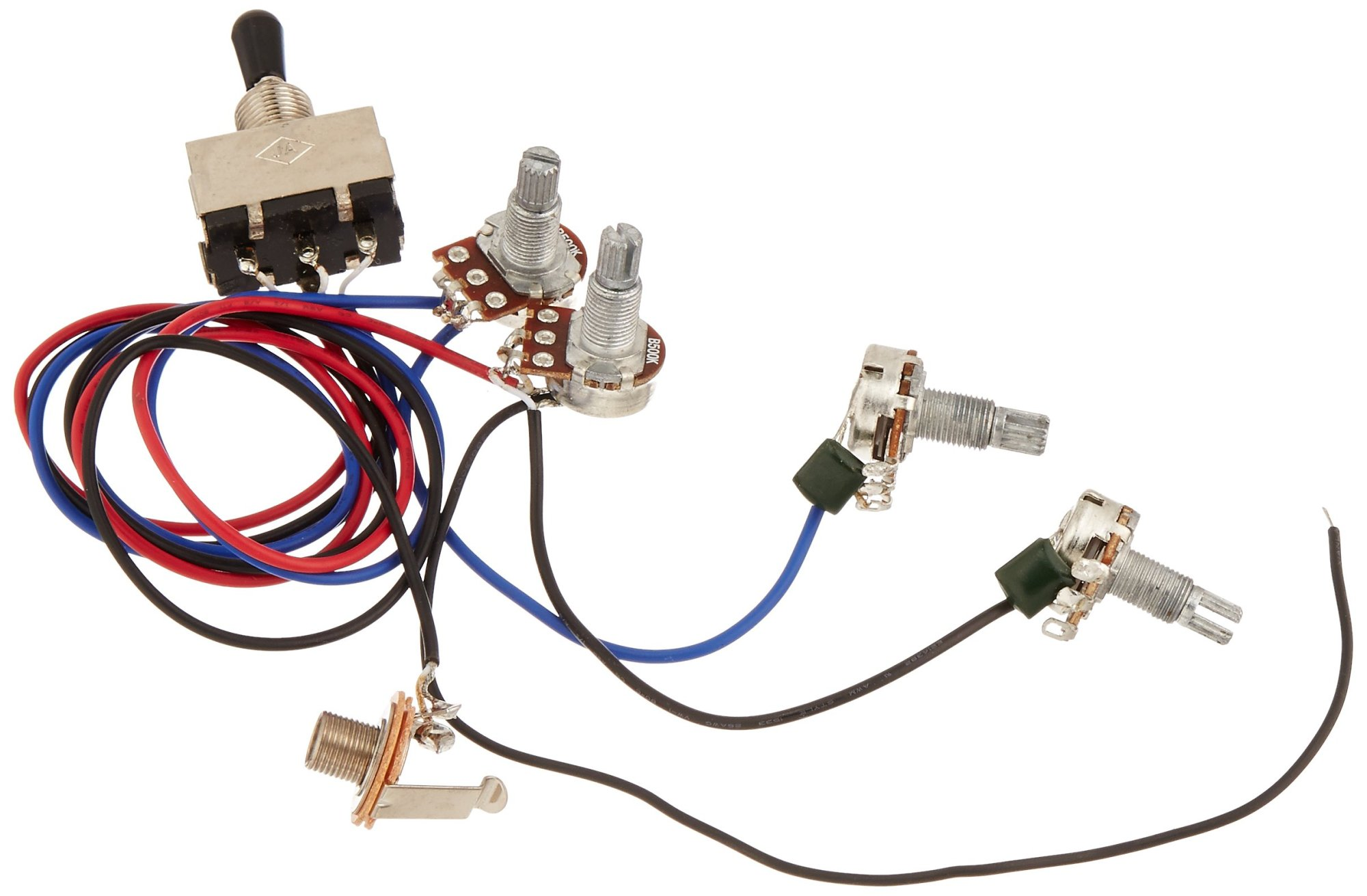 hight resolution of get quotations kmise wiring harness prewired 2v2t 3way toggle switch jack 500k pots for gibson replacement guitar